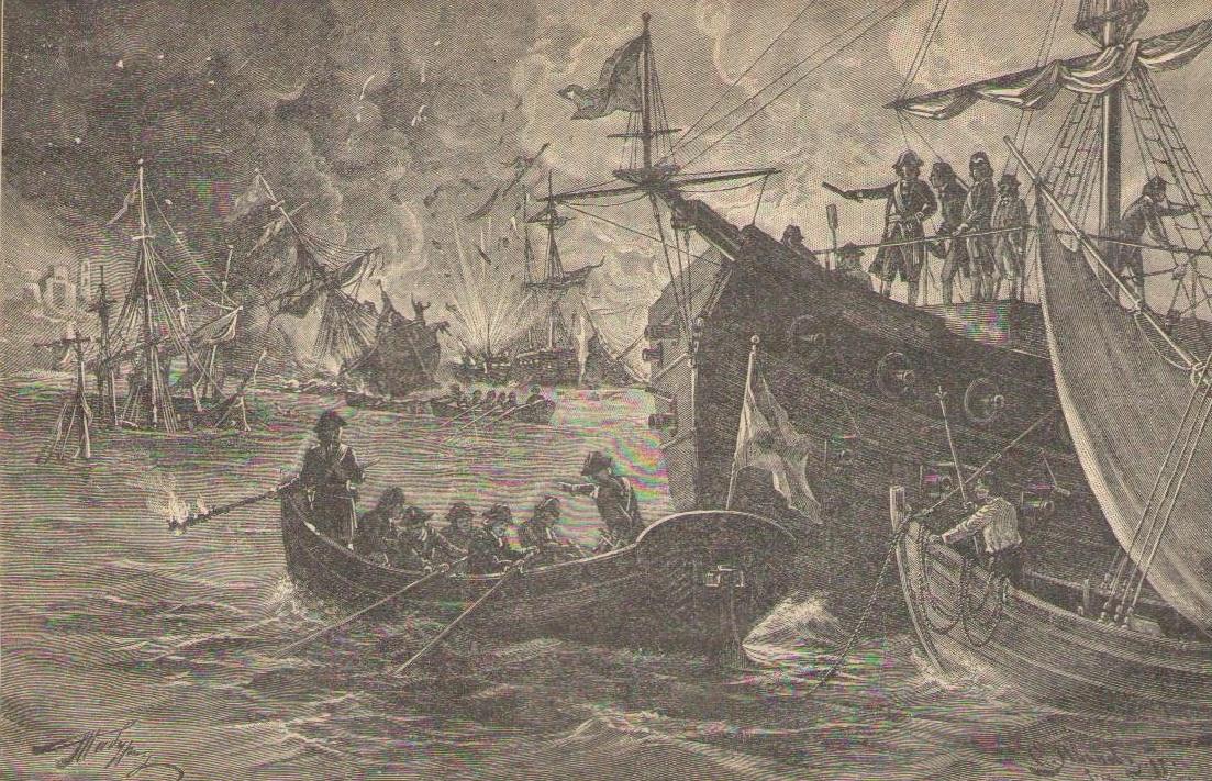 Орлов встречает турецкие корабли в Чейсменкой бухте