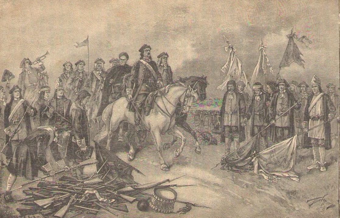 Пётр Великий объезжает Полтавское поле после победы